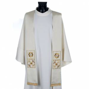Stoles: Clergy stole in shantung, golden embroidery