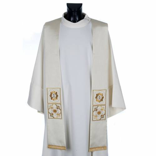 Clergy stole in shantung, golden embroidery s1
