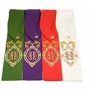 Clergy stole with IHS embroidery 4 colors s1