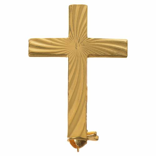 Clergyman cross pin in golden 800 silver s1