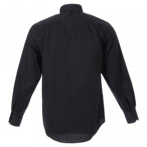 Clergy Shirts: STOCK Clergyman shirt, long sleeves in black popeline