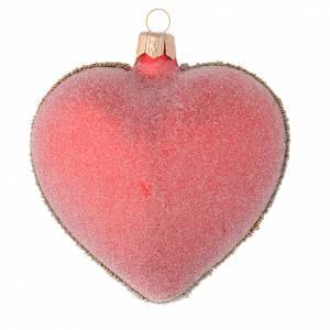 Coeur verre rouge et vert fleur 100 mm s2
