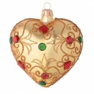 Coeur verre soufflé or et pierres 100 mm s1