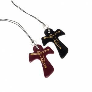 Llaveros: Colgante cruz tau cuero para móvil