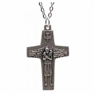 Pendenti croce metallo: Collana croce Papa Francesco metallo 4x2,5