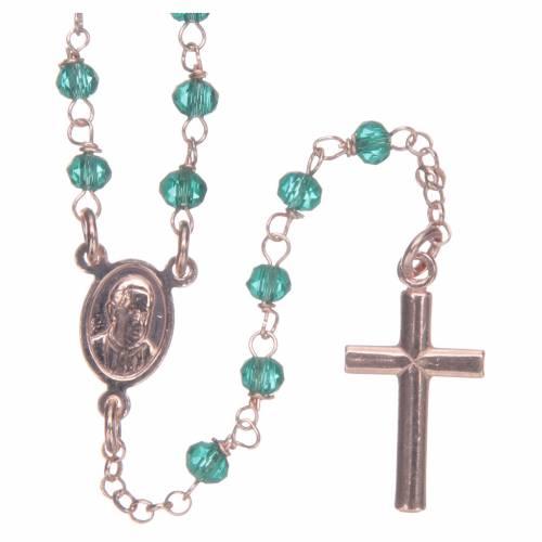Collana rosario AMEN classico crist verdi arg 925 Rosè s2