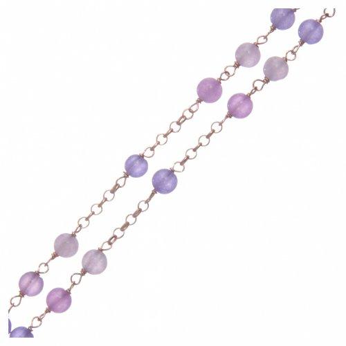 Collana rosario classico Arg 925 AMEN rosé con grani giada lilla s3