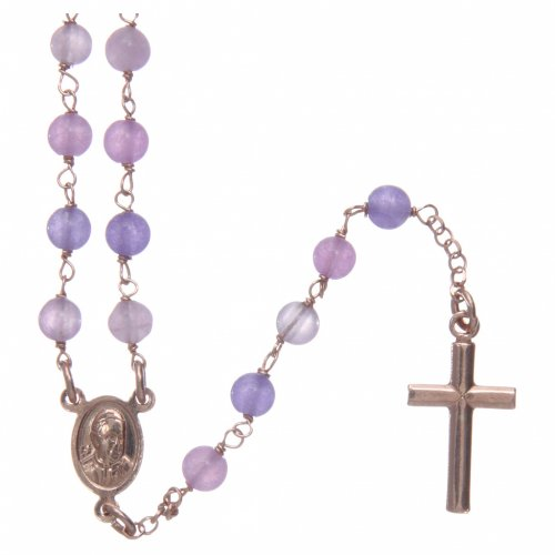 Collana rosario classico Arg 925 AMEN rosé con grani giada lilla s2