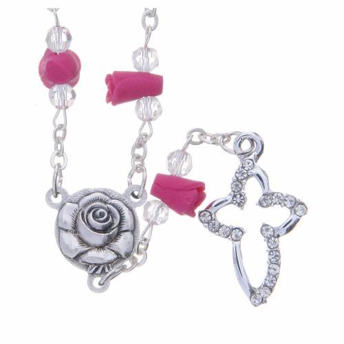 Collana rosario Medjugorje fucsia rose ceramica grani cristallo s1