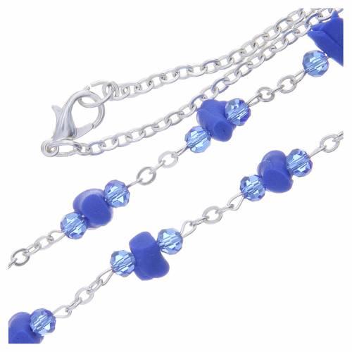 Collana rosario Medjugorje rose blu ceramica icona Madonna s3