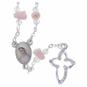 Rosarios y Porta Rosarios Medjugorje: Collar rosario Medjugorje rosas cerámica icono Virgen María