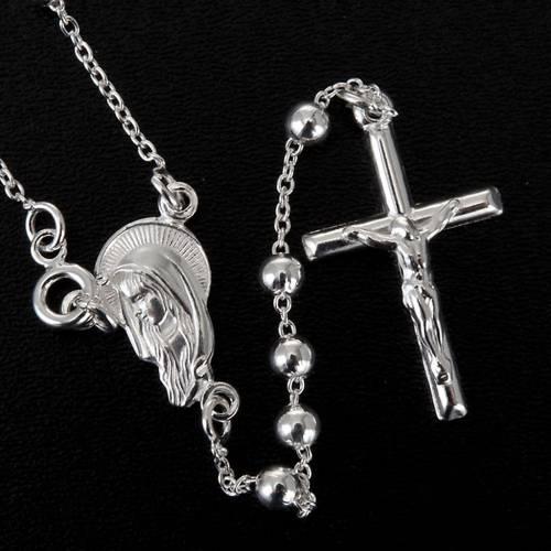 Collar Rosario plata 925 cuentas 4mm - 5 mm s5
