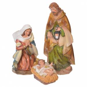 Resin and Fabric nativity scene sets: Complete nativity set in multicoloured resin, 11 figurines 31cm