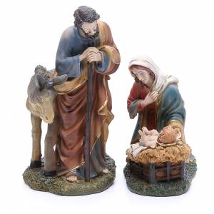 Resin and Fabric nativity scene sets: Complete nativity set in resin, 8 figurines 21cm