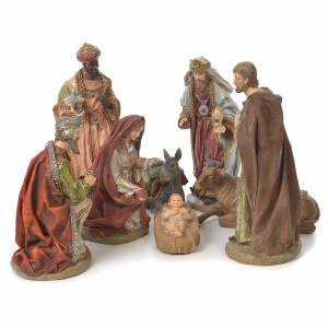 Resin and Fabric nativity scene sets: Complete nativity set in resin, 8 figurines 30cm