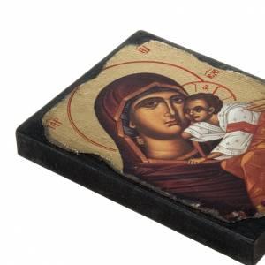 Íconos estampados madera y piedra: Ícono estampado Virgen con el Niño manto rojo