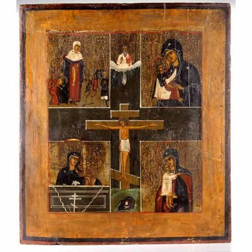 Ícono Ruso antiguo Crucifijo con Virgen s1