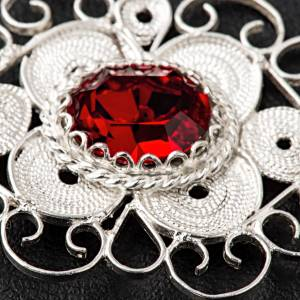 Cope clasp, 800 silver filigree, round with red stone s4