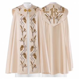 Copes, Roman Chasubles and Dalmatics: Cope in 80% polyester with decorations with vine and ears of wheat