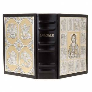 Custodie per messali e benedizionali: Copertina Messale con doppia placca Cristo Pantocratore