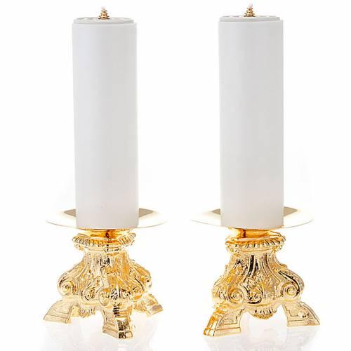 Coppia candelieri ottone dorato base treppiedi h15 s1