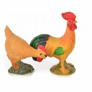 Coq et poule résine 15 cm pour crèche s2