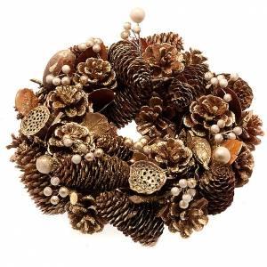 Corona natalizia dorata pigne bacche fior di loto s1