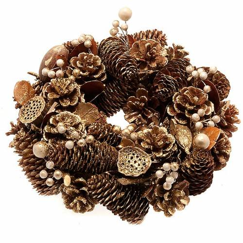 Corona natalizia dorata pigne bacche fior di loto 1