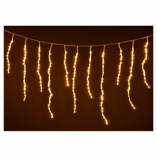 Cortina de luces de Navidad de carámbano 576 LED blanco cálido para exterior s4