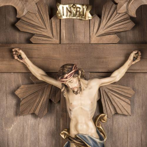 Country crucifix spruce wood, Val Gardena s4