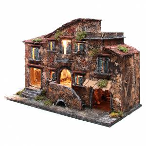 Country house with stable for Neapolitan Nativity with light measuring 48x71x36cm s2
