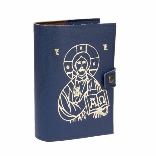 Couverture 4 vol. cuir, bleu, image Jésus s1