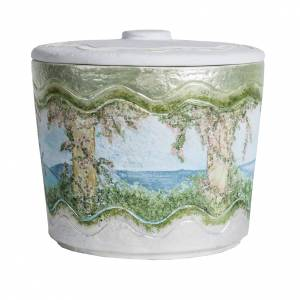 Cremation urn in synthetic marble, with handmade decorations s4