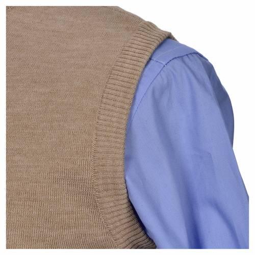 Crew-neck sleeveless cardigan, beige s3