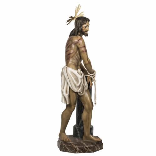 Cristo alla colonna 180 cm pasta di legno dec. anticata s7