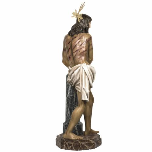 Cristo alla colonna 180 cm pasta di legno dec. anticata s11