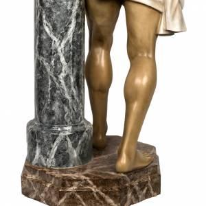 Cristo alla colonna 180 cm pasta di legno dec. anticata s18