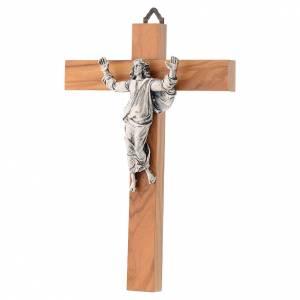 Crucifijos y cruces de madera: Cristo resucitado en plateado, cruz madera de olivo