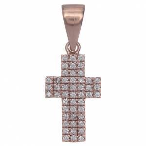Pendenti, croci, spille, catenelle: Croce argento 925 rosè con zirconi