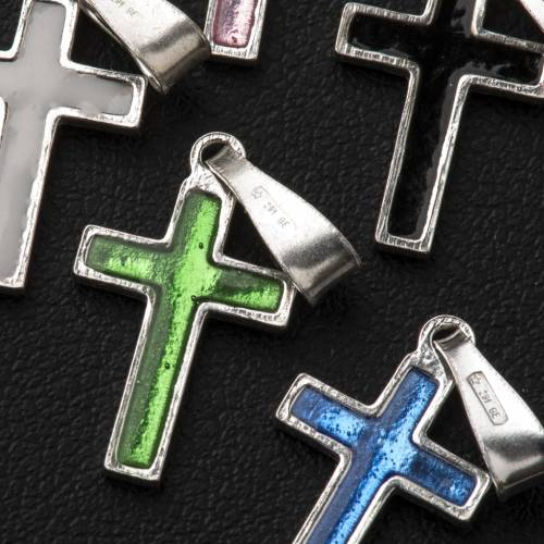 Croce argento e smalto vari colori s5