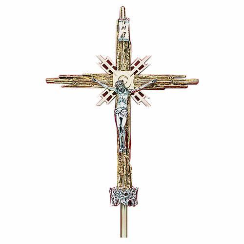 Croce astile ottone fuso oro argento 68x49 cm s1