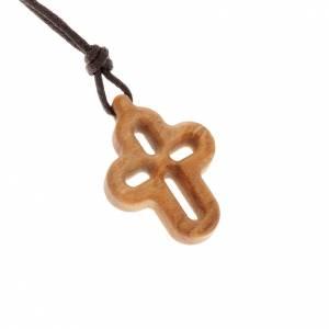 Pendenti croce legno: Croce tondeggiante traforata olivo
