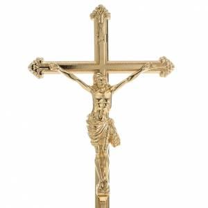 Croci da altare con candelieri: Croce da mensa e coppia candelieri ottone 53x30 cm