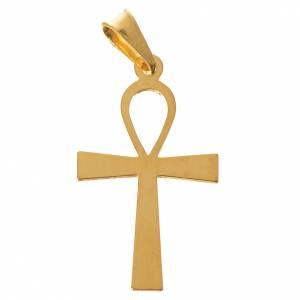 Pendenti, croci, spille, catenelle: Croce della vita Argento 800 dorata