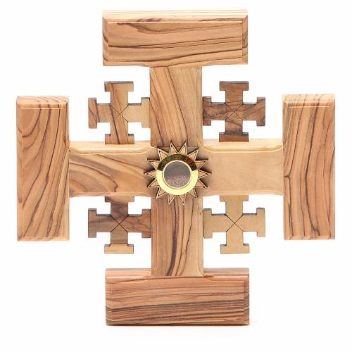 Croce Gerusalemme legno di olivo e terra Palestina 15 cm s1