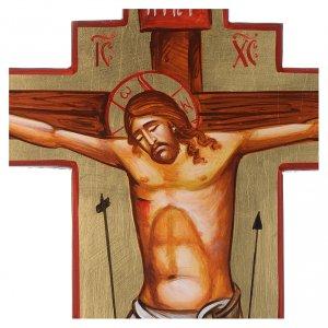Croce icona dipinta a mano su legno 45x30 cm s2