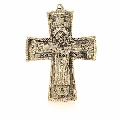 Croce JJésus grand prêtre Monaci Betlemme ottone 13x9,5 cm s1