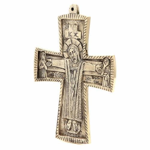 Croce Jesus Grand Pretre Monaci Betlemme ottone 27x20 cm s2
