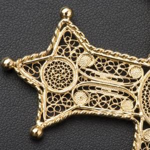 Croce pettorale arg. 800 dorata filigrana con decori s7