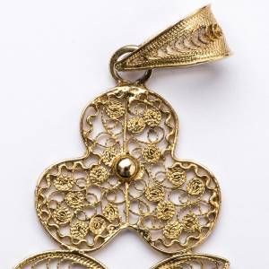 Croce pettorale filigrana argento 800 dorato con Corpo s3
